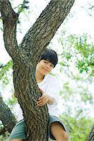 Boy sitting in tree, smiling at camera Stock Photo - Premium Royalty-Freenull, Code: 695-05768134