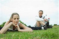 fitness   mature woman - Mature couple stretching in park Stock Photo - Premium Royalty-Freenull, Code: 695-05771579
