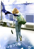 Woman walking, rear view, on speedometer with airplane in distance, montage Stock Photo - Premium Royalty-Freenull, Code: 695-05773315