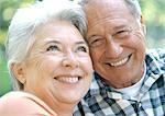 Mature man and woman smiling, close-up,  portrait Stock Photo - Premium Royalty-Freenull, Code: 695-05773712