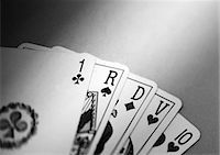 Playing cards, b&w. Stock Photo - Premium Royalty-Freenull, Code: 695-05775541