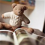Stuffed teddy bear looking at book Stock Photo - Premium Royalty-Freenull, Code: 695-05776538