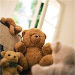 Group of teddy bears sitting near window Stock Photo - Premium Royalty-Freenull, Code: 695-05776555