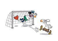 Man making soccer goal with heart Stock Photo - Premium Royalty-Freenull, Code: 695-05780363