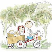 Boy on bike pulling girl in wagon Stock Photo - Premium Royalty-Freenull, Code: 695-05780401