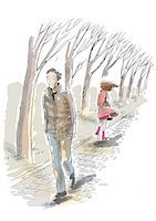 sad lovers break up - Man and woman walking on path in winter Stock Photo - Premium Royalty-Freenull, Code: 695-05780405