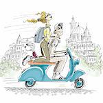 Couple on motor scooter Stock Photo - Premium Royalty-Free, Artist: Cusp and Flirt, Code: 695-05780409