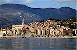View from the sea of Menton, Alpes Maritimes, Provence, Cote d'Azur, French Riviera, France, Mediterranean, Europe Stock Photo - Premium Rights-Managed, Artist: Robert Harding Images, Code: 841-05781088