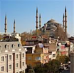Roof-top hotel cafes overlooked by the Blue Mosque, Istanbul, Turkey, Europe Stock Photo - Premium Rights-Managed, Artist: Robert Harding Images, Code: 841-05781563