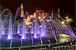Coloured fountains at night in Sultan Ahmet Park, a favourite gathering place for locals and tourists, looking towards the Blue Mosque, Istanbul, Turkey, Europe Stock Photo - Premium Rights-Managed, Artist: Robert Harding Images, Code: 841-05781573