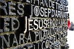 Close up of writing which fills the bronze doors of the Sagrada Familia, UNESCO World Heritage Site, Barcelona, Catalonia, Spain, Europe Stock Photo - Premium Rights-Managed, Artist: Robert Harding Images, Code: 841-05781902