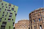 Green residential apartments and converted gasometers, Gasometer City, Simmering, Vienna, Austria, Europe Stock Photo - Premium Rights-Managed, Artist: Robert Harding Images, Code: 841-05782133