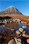 Buachaille Etive Mor and reflection in the River Coupall at the head of Glen Etive, Glen Coe end of Rannoch Moor, Highlands, Scotland, United Kingdom, Europe Stock Photo - Premium Rights-Managed, Artist: Robert Harding Images, Code: 841-05782371