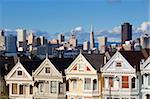 The famous Painted Ladies, well maintained old Victorian houses on Alamo Square, with the skyscrapers of the Financial district beyond, San Francisco, California, United States of America, North America Stock Photo - Premium Rights-Managed, Artist: Robert Harding Images, Code: 841-05782413