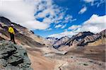 Hiker looking down to base camp, Plaza de Mulas, Aconcagua Provincial Park, Andes mountains, Argentina, South America Stock Photo - Premium Rights-Managed, Artist: Robert Harding Images, Code: 841-05782769