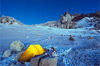 Illuminated tent at White Rocks campsite, Piedras Blancas, 6200m, Aconcagua 6962m, highest peak in South America, Aconcagua Provincial Park, Andes mountains, Argentina, South America Stock Photo - Premium Rights-Managednull, Code: 841-05782778