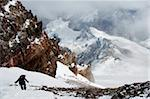 Climber nearing the summit of Aconcagua 6962m, highest peak in South America, Aconcagua Provincial Park, Andes mountains, Argentina, South America Stock Photo - Premium Rights-Managed, Artist: Robert Harding Images, Code: 841-05782783