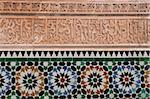 Calligraphy and zellige in the patio of the Medersa Ben Yousef, built in 1570, the biggest Koranic school in the Maghreb, Marrakesh, Morocco, North Africa, Africa Stock Photo - Premium Rights-Managed, Artist: Robert Harding Images, Code: 841-05785973