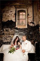 Bride and Groom Sitting Together Stock Photo - Premium Rights-Managednull, Code: 700-05786476