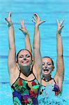 Swimmers with Arm-raised,  Synchronized Swimming Stock Photo - Premium Royalty-Free, Artist: Aflo Sport               , Code: 622-05786716