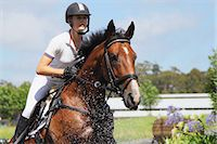 equestrian - Horse Rider Crossing Water, Equestrian Event Stock Photo - Premium Royalty-Freenull, Code: 622-05786744