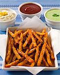 Sweet Potato Fries With Sauces Stock Photo - Premium Royalty-Free, Artist: foodanddrinkphotos, Code: 6106-05787924