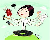 Woman juggling multiple tasks all at once Stock Photo - Premium Royalty-Freenull, Code: 6106-05788280