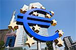 Euro sign outside European Central Bank, Frankfurt, Germany Stock Photo - Premium Royalty-Free, Artist: Ikon Images, Code: 614-05792103