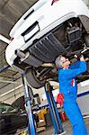 Low angle view of senior mechanic working under car Stock Photo - Premium Royalty-Free, Artist: Cusp and Flirt, Code: 693-05794038