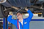 Mechanic repairing the car with a monkey wrench Stock Photo - Premium Royalty-Free, Artist: Cusp and Flirt, Code: 693-05794045