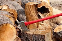 forestry - An axe wedged into a tree stump Stock Photo - Premium Royalty-Freenull, Code: 693-05794377