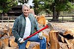 Portrait of senior lumber jack holding an axe Stock Photo - Premium Royalty-Free, Artist: Ron Fehling, Code: 693-05794380