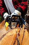 Close-up view of lumberjack with electric saw Stock Photo - Premium Royalty-Free, Artist: Cultura RM, Code: 693-05794406