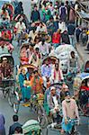 Busy rickshaw traffic on a street crossing in Dhaka, Bangladesh, Asia Stock Photo - Premium Rights-Managed, Artist: Robert Harding Images, Code: 841-05794826