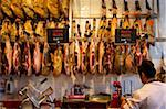 Cured hams (jamon serrano), for sale in market of Mercado de San Miquel, Madrid, Spain, Europe Stock Photo - Premium Rights-Managed, Artist: Robert Harding Images, Code: 841-05795900