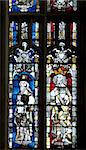 Stained glass dating from the 14th century of the Apostle St. James the Great on the left, and an unknown King, Great East Window, Gloucester Cathedral, Gloucester, Gloucestershire, England, United Kingdom, Europe Stock Photo - Premium Rights-Managed, Artist: Robert Harding Images, Code: 841-05796011