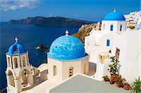 religious cross nobody - White chapel with the blue dome, Oia, Santorini, Cyclades, Greek Islands, Greece, Europe Stock Photo - Premium Rights-Managednull, Code: 841-05796353