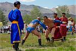 Wrestling at the national Naadam festival, Ovorkhangai, Mongolia, Central Asia, Asia Stock Photo - Premium Rights-Managed, Artist: Robert Harding Images, Code: 841-05796523