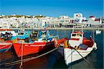 Old harbour and red church, Mykonos Town, Chora, Mykonos Island, Cyclades, Greek Islands, Greece, Europe