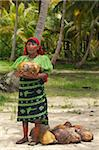 Kuna Indian woman collecting coconuts, used for bartering with Columbians), on a deserted tropical island in Kuna Yala (San Blas Islands), Caribbean coast of northern Panama, Central America Stock Photo - Premium Rights-Managed, Artist: Robert Harding Images, Code: 841-05797070