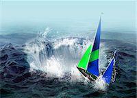 sailing boat storm - Bermuda triangle, conceptual artwork Stock Photo - Premium Royalty-Freenull, Code: 679-05797572