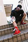 Boxer Sitting on Stair Stock Photo - Premium Rights-Managed, Artist: Aflo Sport, Code: 858-05799241