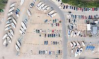 Aerial view of dock and parking lot Stock Photo - Premium Royalty-Freenull, Code: 649-05801684