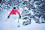 Skier jumping on snowy slope Stock Photo - Premium Royalty-Free, Artist: Westend61, Code: 649-05801875