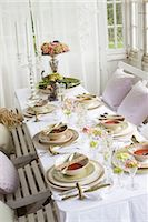 setting kitchen table - Dining table prepared for meal Stock Photo - Premium Royalty-Freenull, Code: 6102-05802521