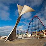 Whales Tail Bench Sculpture in front of Pleasure Beach Amusement Park, Blackpool, Lancashire, England Stock Photo - Premium Rights-Managed, Artist: Jason Friend, Code: 700-05803170