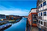Canal Barges and University Student Accommodation, near Brayford Pool and Brayford Quays, Lincoln, Lincolnshire, England