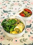 Zucchini omelette Bento with spinach,walnuts and pickled peppers Stock Photo - Premium Royalty-Free, Artist: Sheltered Images, Code: 652-05807807