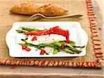Roast red pepper on Mato cheese and green asparagus Stock Photo - Premium Royalty-Freenull, Code: 652-05808014