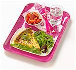T.V dinner tray with quiche,lettuce and strawberries Stock Photo - Premium Royalty-Freenull, Code: 652-05809327